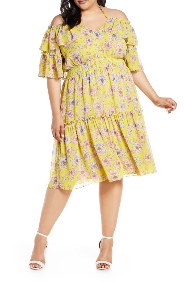 CHELSEA28 Floral Off the Shoulder Tiered Dress, Main, color, 700