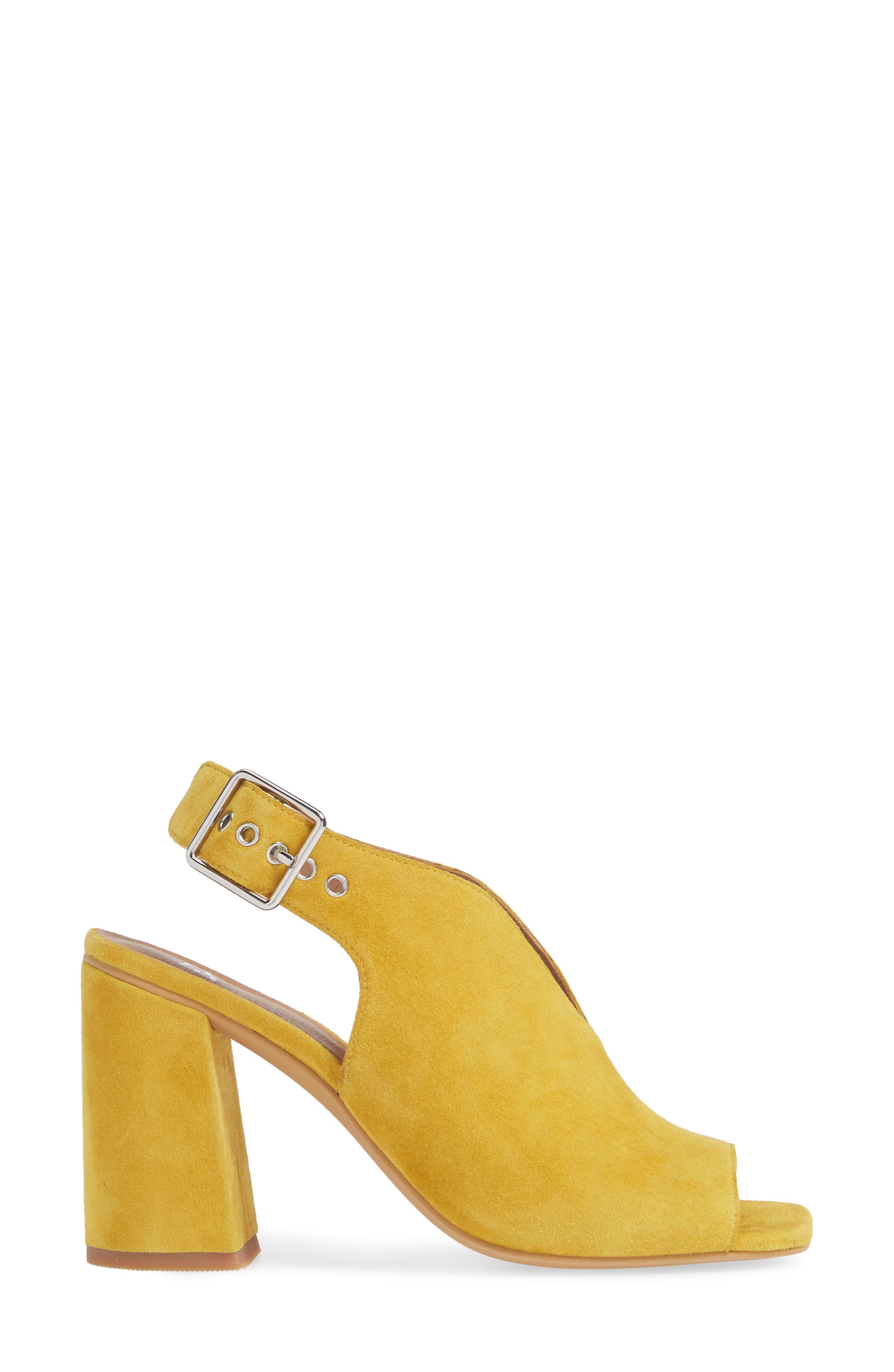 ,                             Block Heel Sandal,                             Alternate thumbnail 3, color,                             YELLOW SUEDE