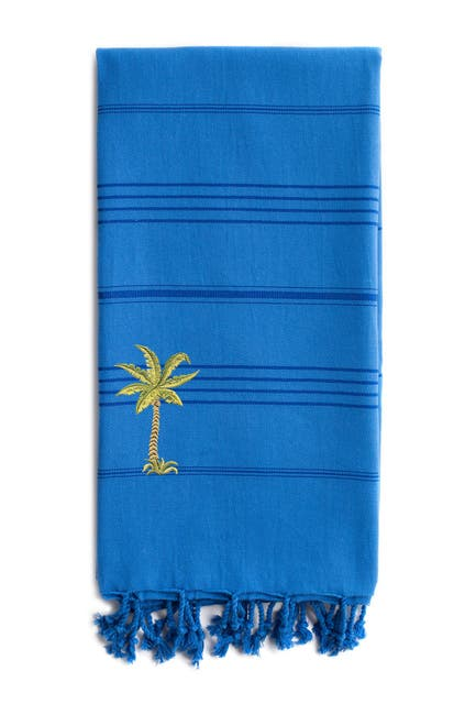 Image of LINUM HOME 100% Turkish Cotton Summer Fun - Breezy Palm Tree Pestemal Beach Towel - Royal Blue