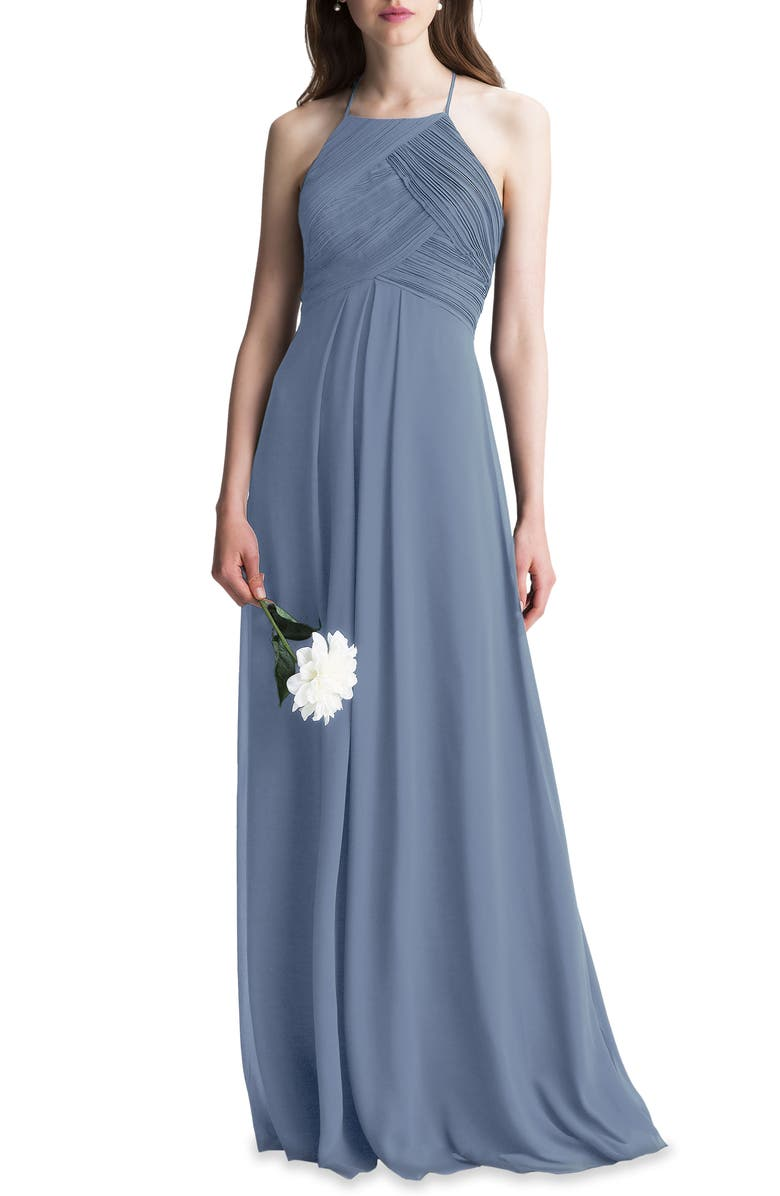 #LEVKOFF Halter Chiffon A-Line Gown, Main, color, 022