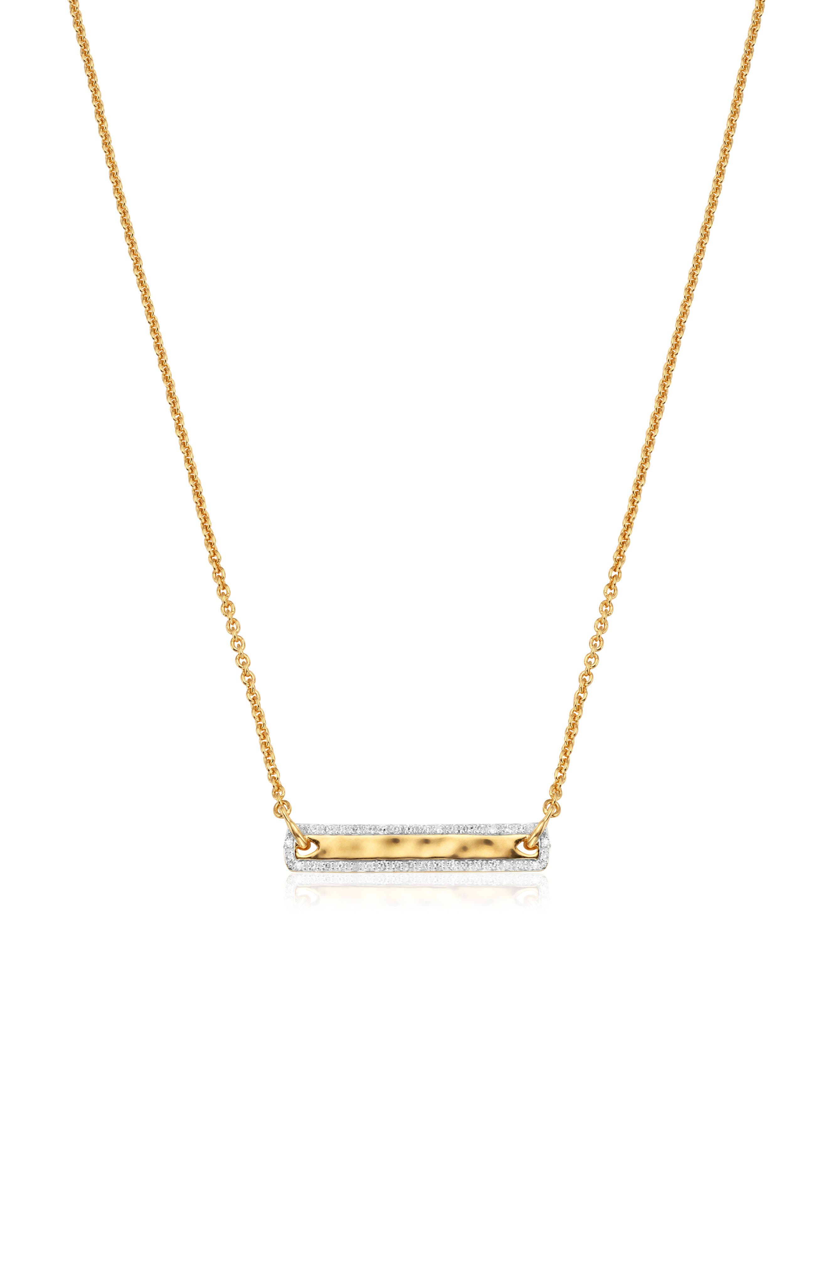 A hammered bar is surrounded by pave diamonds in a necklace you can wear every day (and night) of the year. Style Name: Monica Vinader Havana Tiny Bar Necklace. Style Number: 6047146. Available in stores.