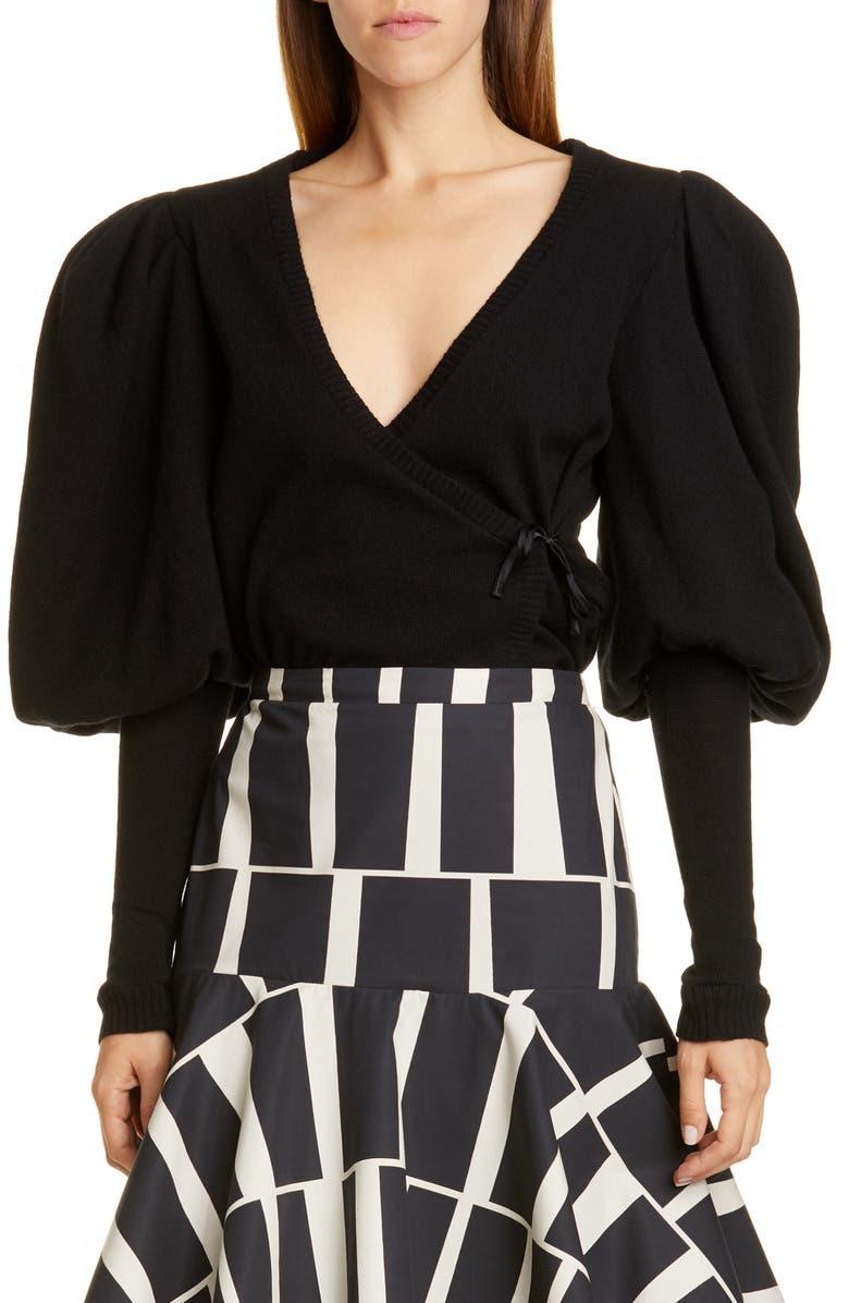 JOHANNA ORTIZ Juliet Sleeve Cashmere Wrap Sweater, Main, color, BLACK