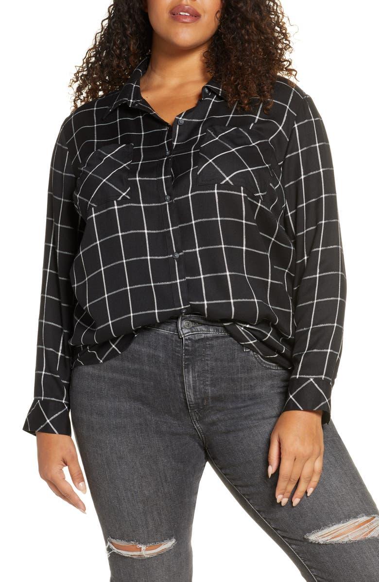 SANCTUARY New Generation Plaid Boyfriend Shirt, Main, color, SILVER NIGHT PLAID