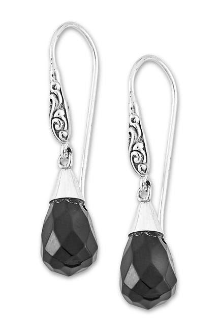 Image of Samuel B Jewelry Sterling Silver Teardrop Black Onyx Drop Earrings