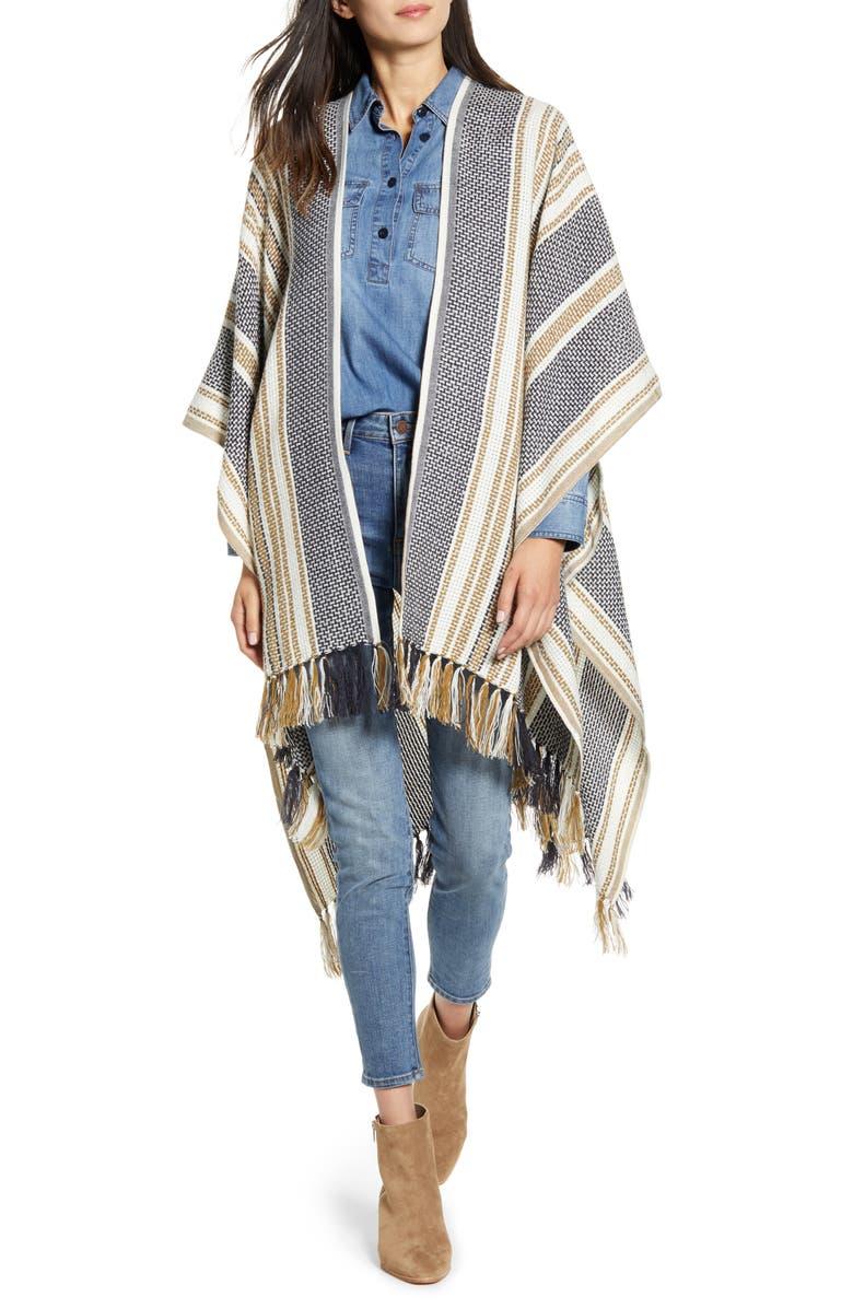 TREASURE & BOND Open Weave Tassel Ruana, Main, color, NAVY COMBO