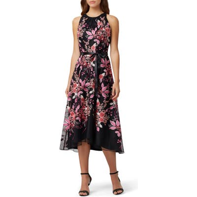 Tahari Floral Embroidered High/low Midi Dress, Black