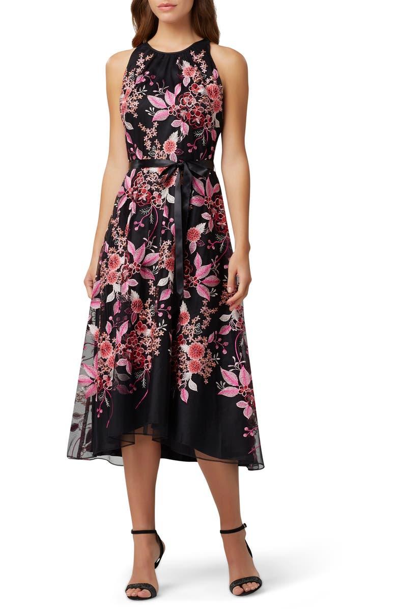 TAHARI Floral Embroidered High/Low Midi Dress, Main, color, BLACK PINK PETALS