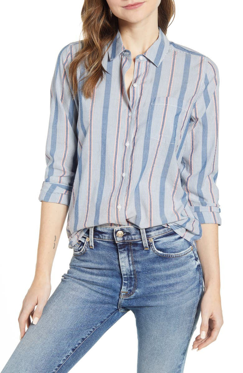 LUCKY BRAND Stripe One-Pocket Shirt, Main, color, MULTI