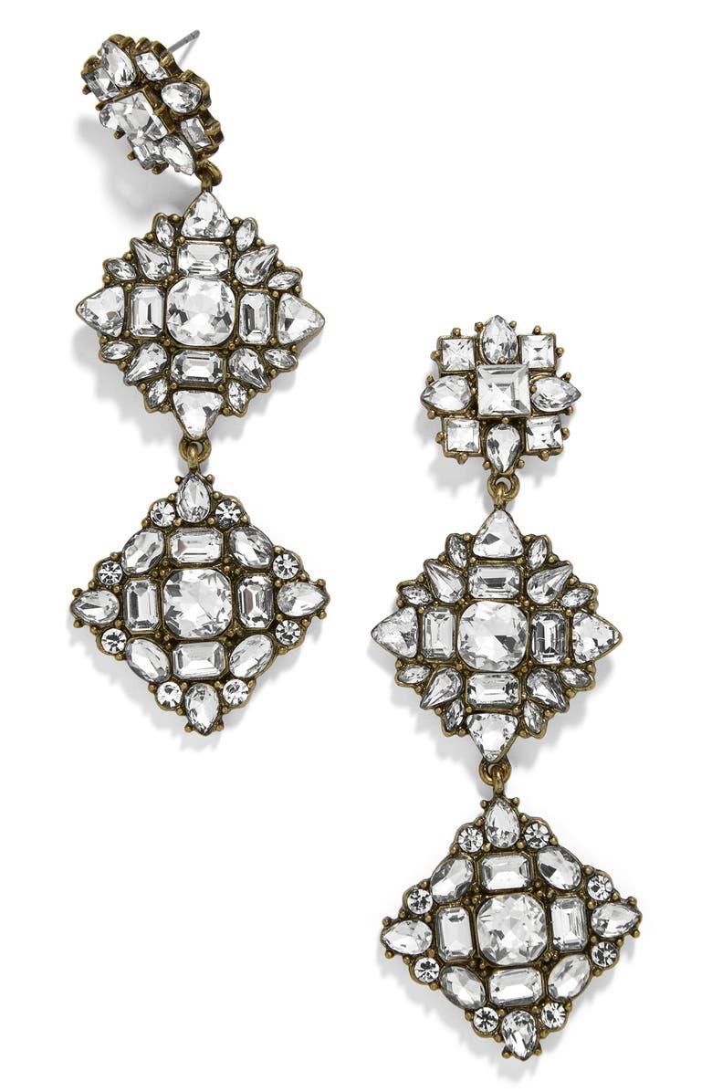 BAUBLEBAR Crystal Station Drop Earrings, Main, color, CLEAR