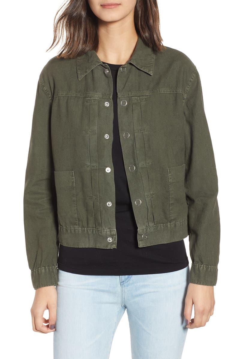 AG Eliette Linen & Cotton Crop Trucker Jacket, Main, color, SULFER ASH GREEN