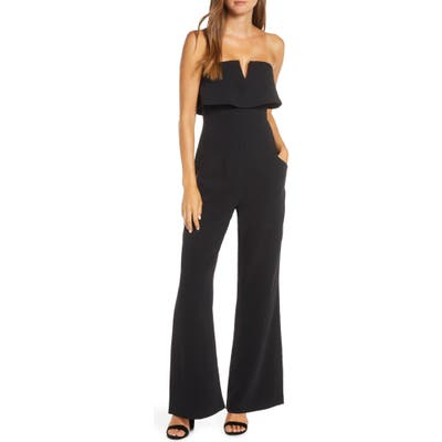 Adelyn Rae Anora Strapless Popover Cocktail Jumpsuit, Black