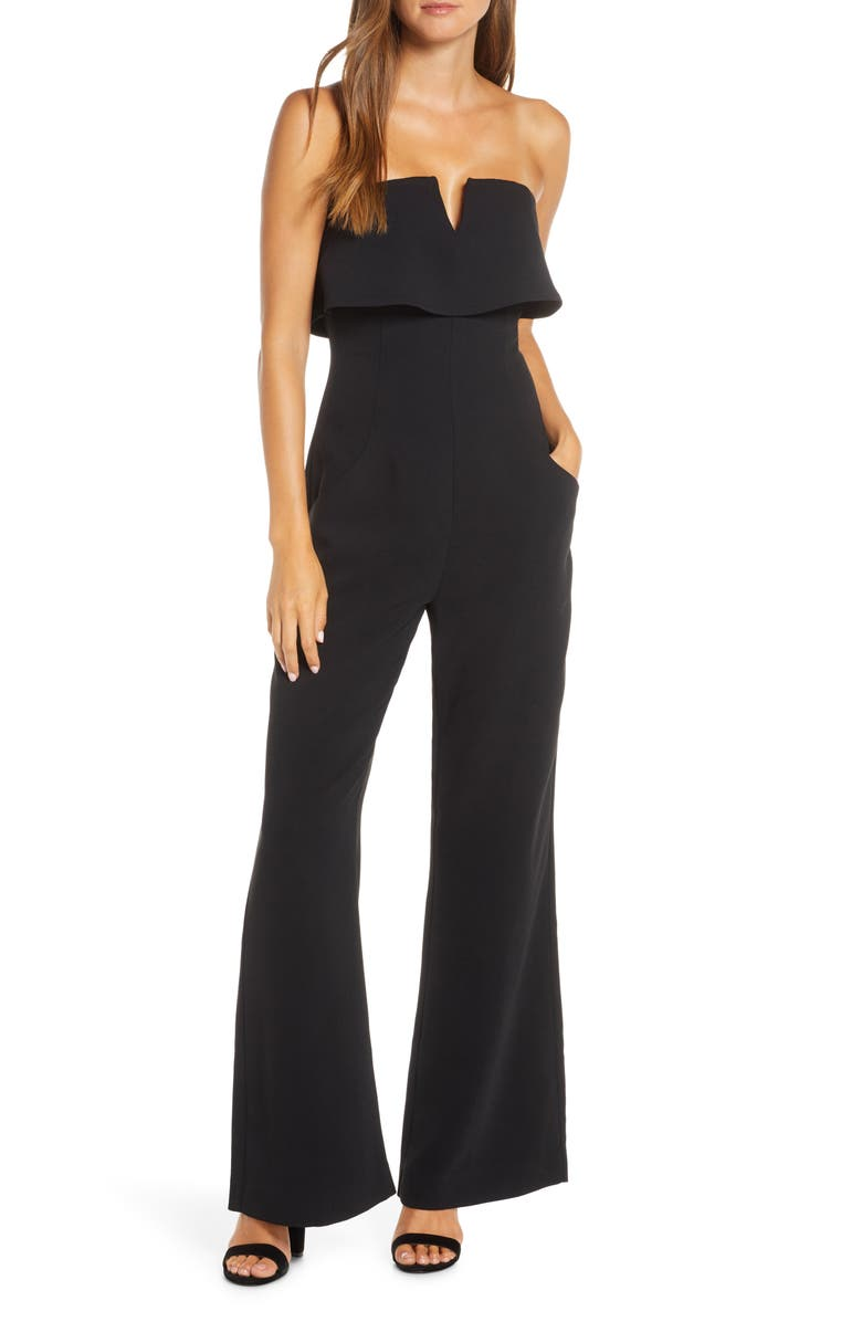 ADELYN RAE Anora Strapless Popover Cocktail Jumpsuit, Main, color, BLACK