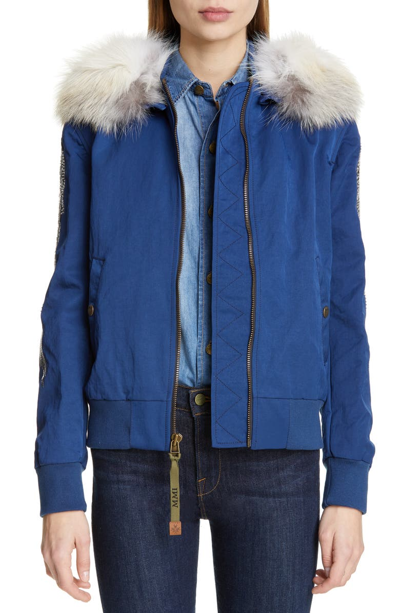 MR & MRS ITALY Embroidered Bomber Jacket with Removable Genuine Fox Fur Trim, Main, color, 400