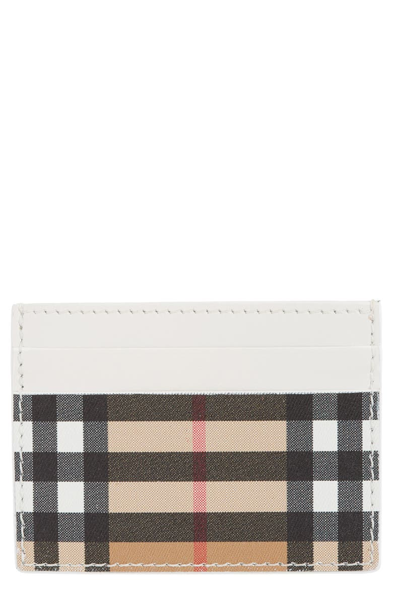 BURBERRY Sandon Vintage Check Leather Card Case, Main, color, CHALK WHITE