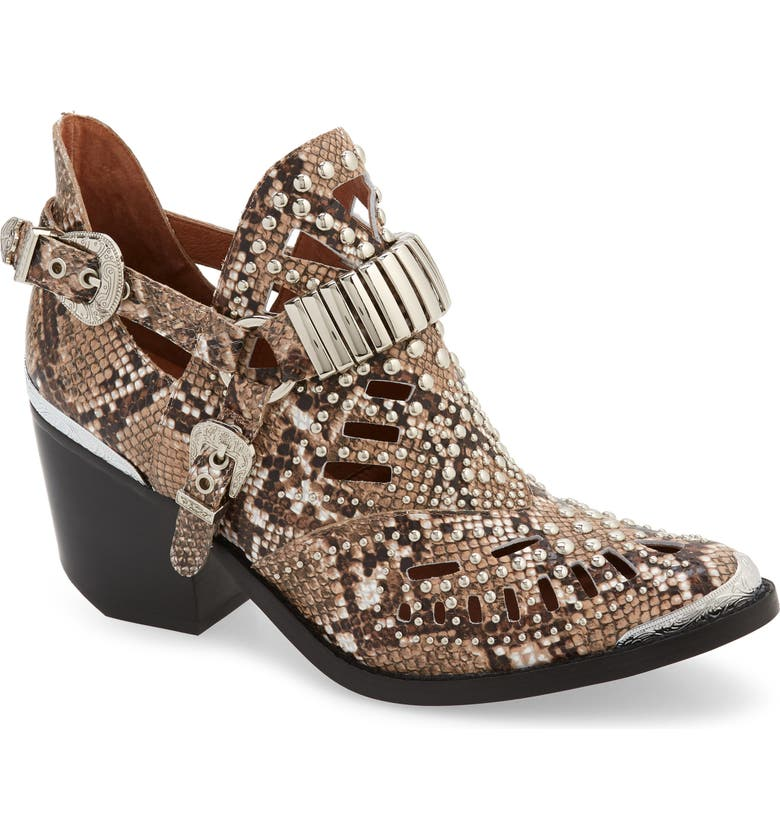 JEFFREY CAMPBELL 'Calhoun' Cutout Bootie, Main, color, TAUPE MULTI SNAKE