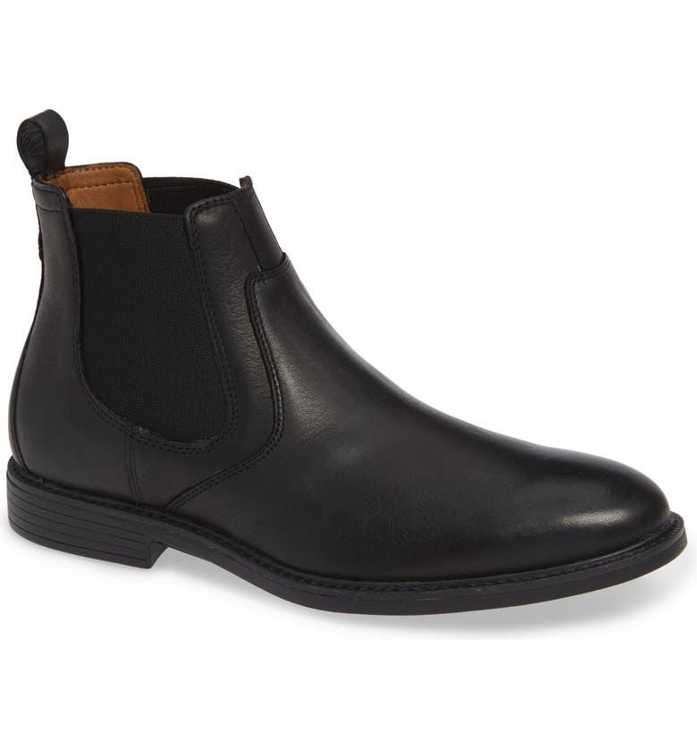 JOHNSTON & MURPHY Hollis Waterproof Chelsea Boot, Main, color, BLACK LEATHER