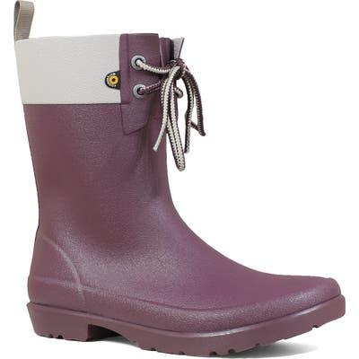 Bogs Floral Lace-Up Waterproof Rain Boot, Purple
