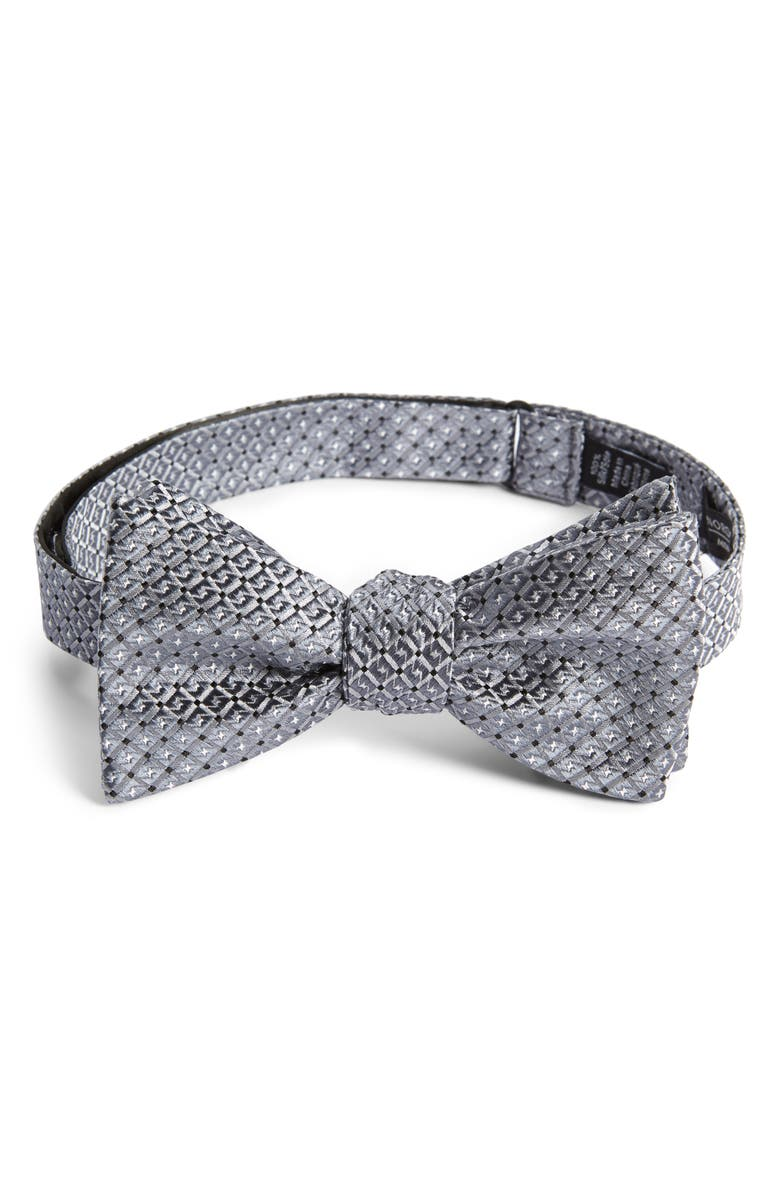 NORDSTROM MEN'S SHOP Namara Check Silk Bow Tie, Main, color, GREY