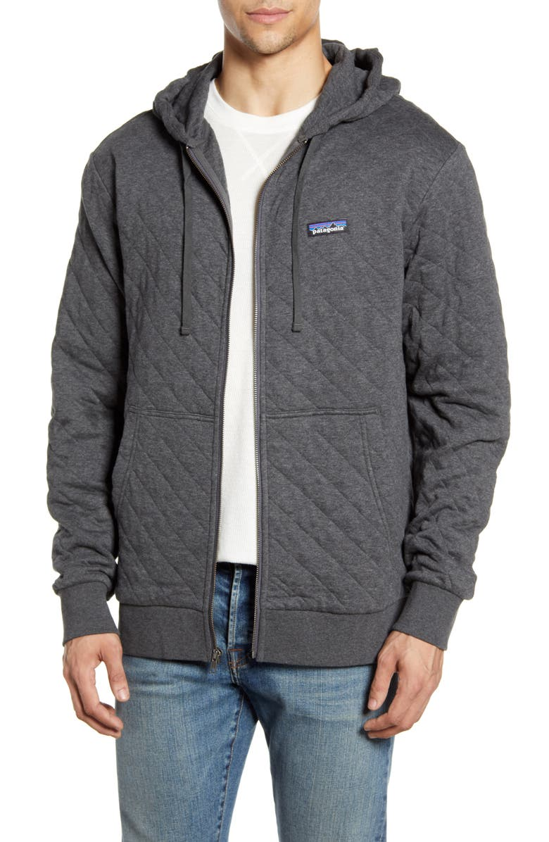 PATAGONIA Quilted Zip Hoodie, Main, color, FORGE GREY