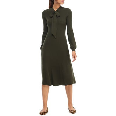 Gal Meets Glam Collection Brianna Tie Neck Long Sleeve Sweater Dress, Green