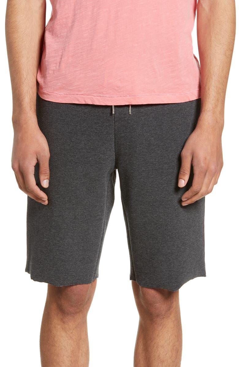 THE RAIL Ribbed Ottoman Shorts, Main, color, GREY MEDIUM CHARCOAL HEATHER