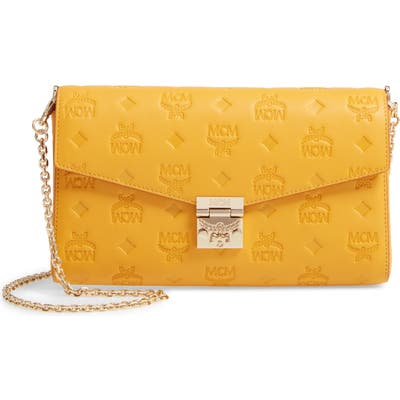 Mcm Millie Medium Calfskin Leather Wallet On A Chain - Yellow