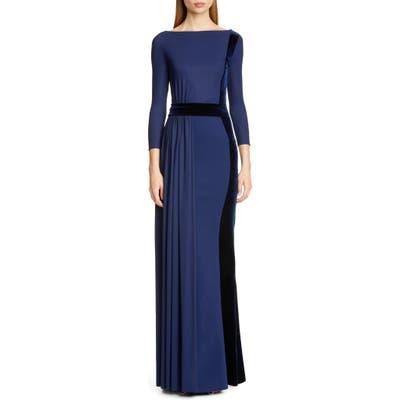 Chiara Boni La Petite Robe Macalyn Velvet Trim Column Gown, US / 44 IT - Blue