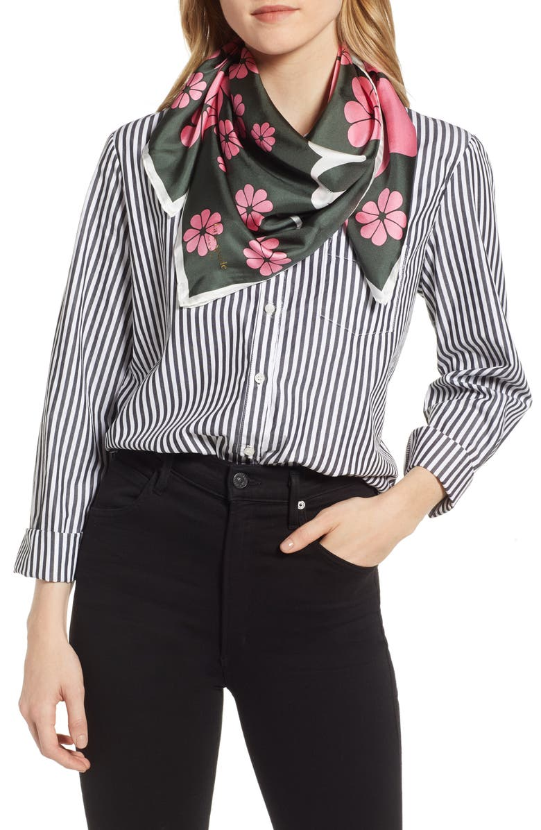 KATE SPADE NEW YORK floral silk scarf, Main, color, FOREST FLOOR