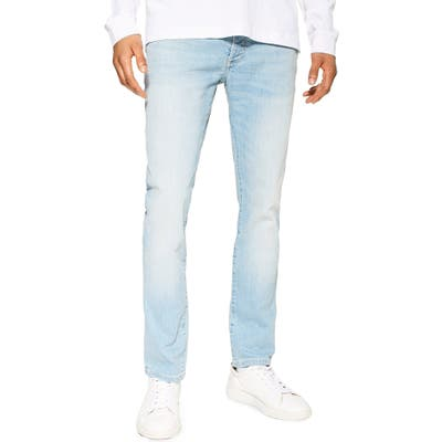 Topman Light Wash Stretch Tapered Slim Fit Jeans, Blue