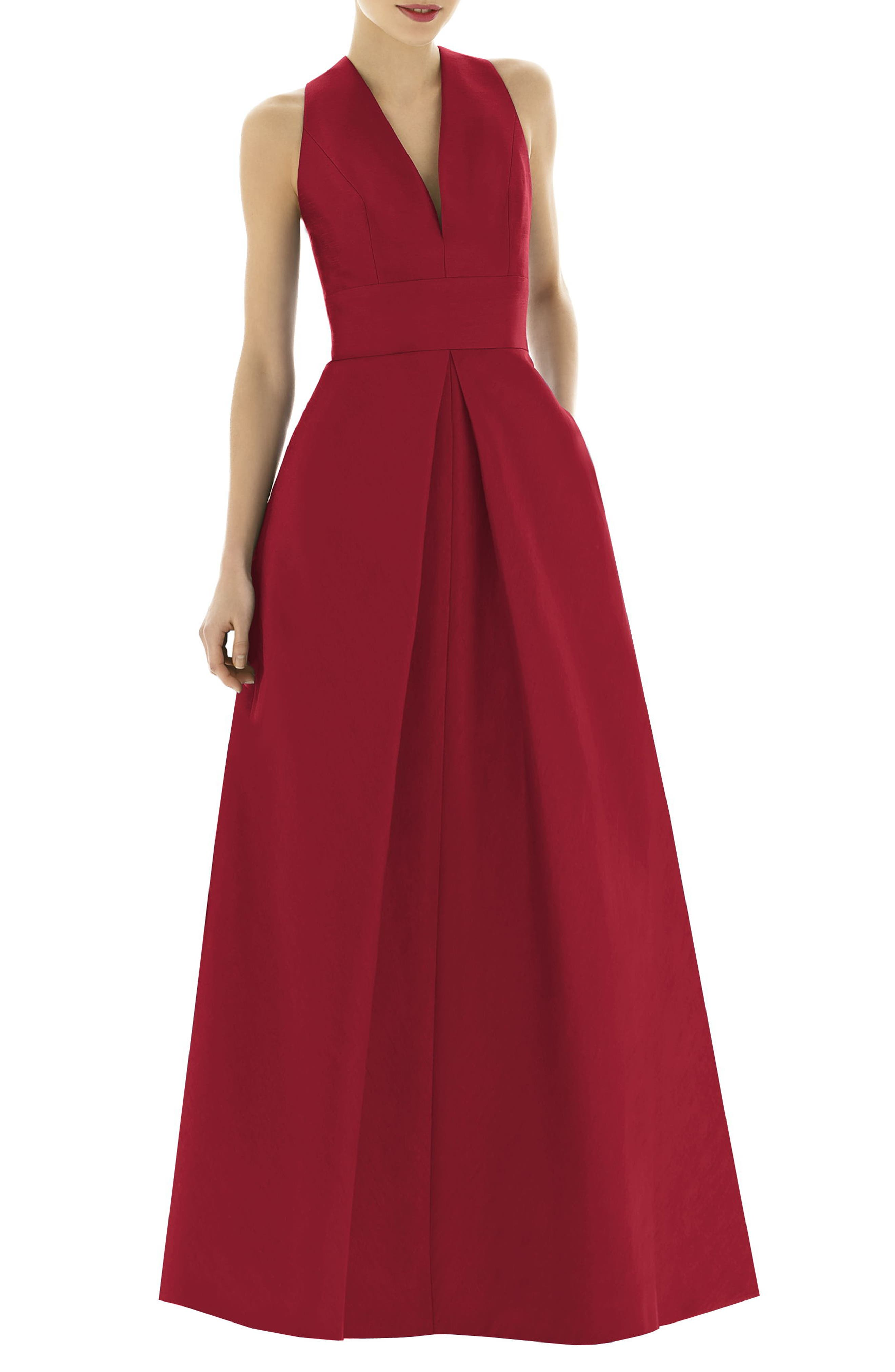 1950s Clothing Womens Alfred Sung V-Neck Dupioni Evening Gown Size 6 - Red $242.00 AT vintagedancer.com