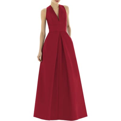 Alfred Sung V-Neck Dupioni Evening Gown, Red