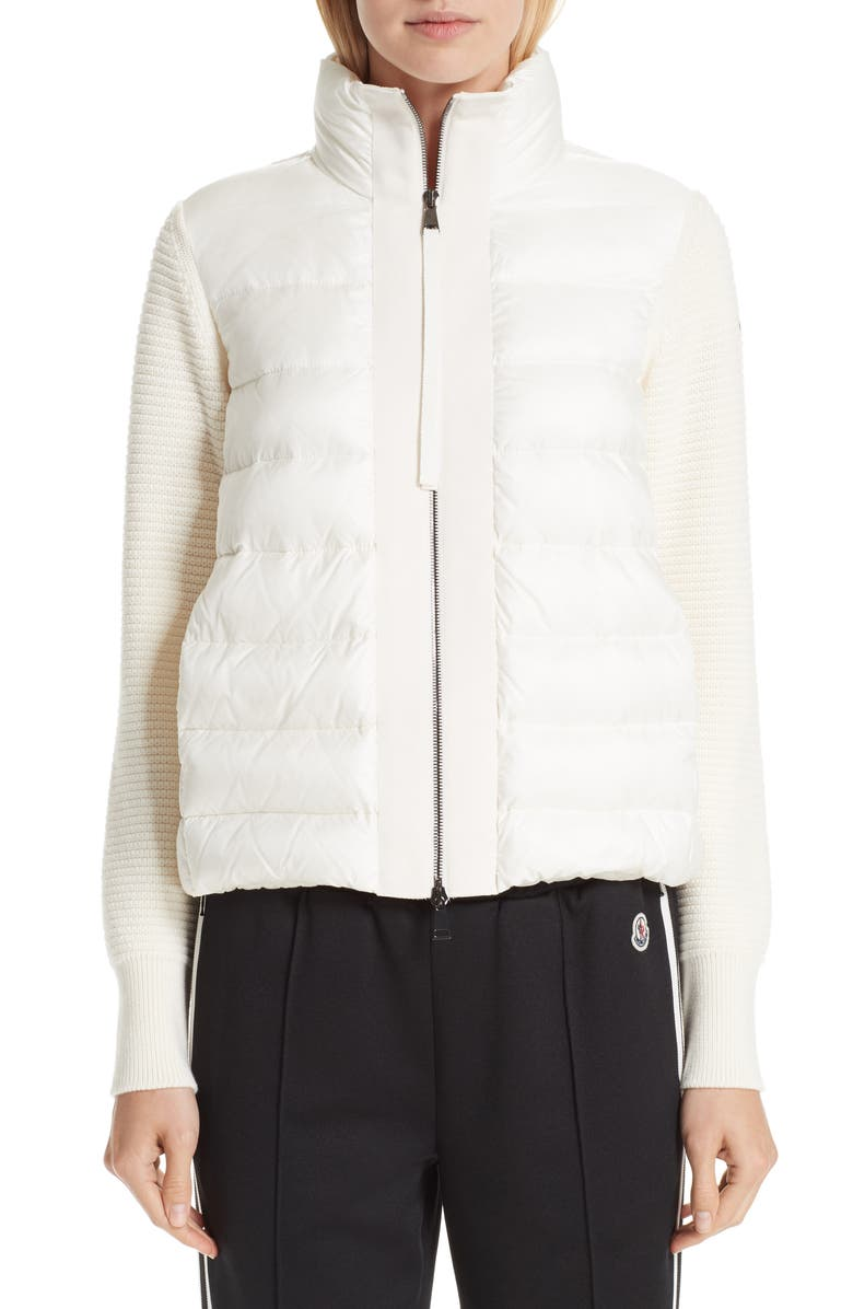 MONCLER Quilted Down & Knit Cardigan, Main, color, WHITE