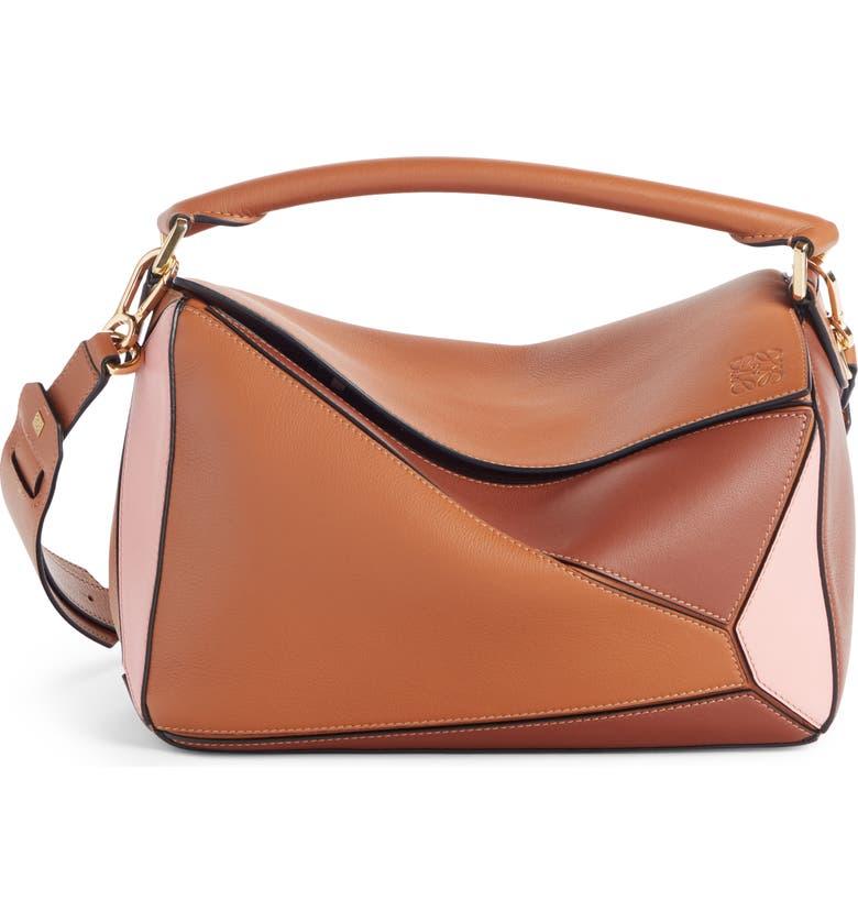LOEWE Puzzle Bicolor Leather Bag, Main, color, TAN/ MEDIUM PINK