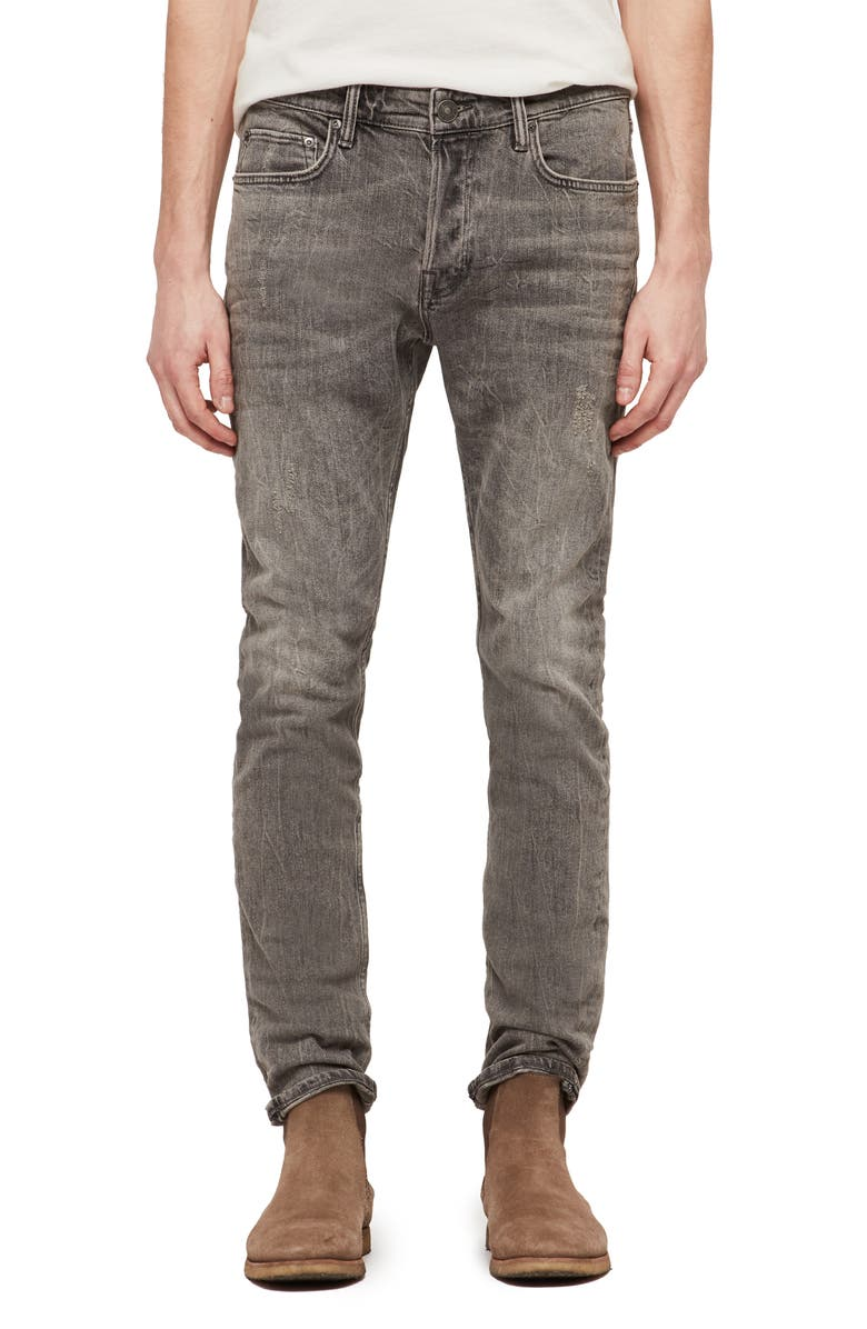 ALLSAINTS Cigarette Skinny Fit Jeans, Main, color, GREY