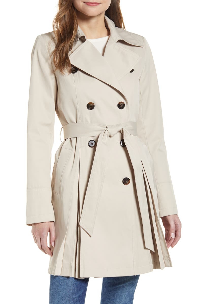 RACHEL PARCELL Pleated Trench Coat, Main, color, STONE