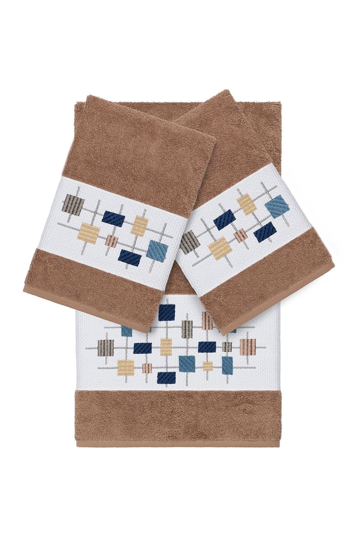 Image of LINUM HOME Khloe 3-Piece Embellished Towel - Latte