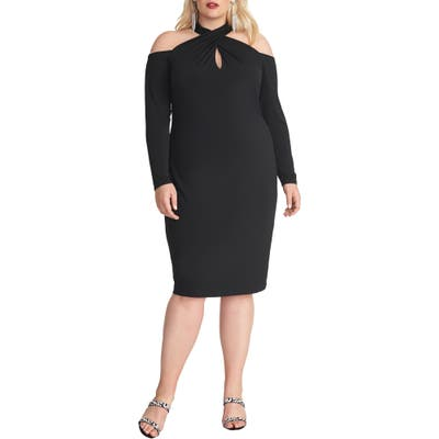 Plus Size Rachel Rachel Roy Simone Long Sleeve Cold Shoulder Jersey Dress, Black