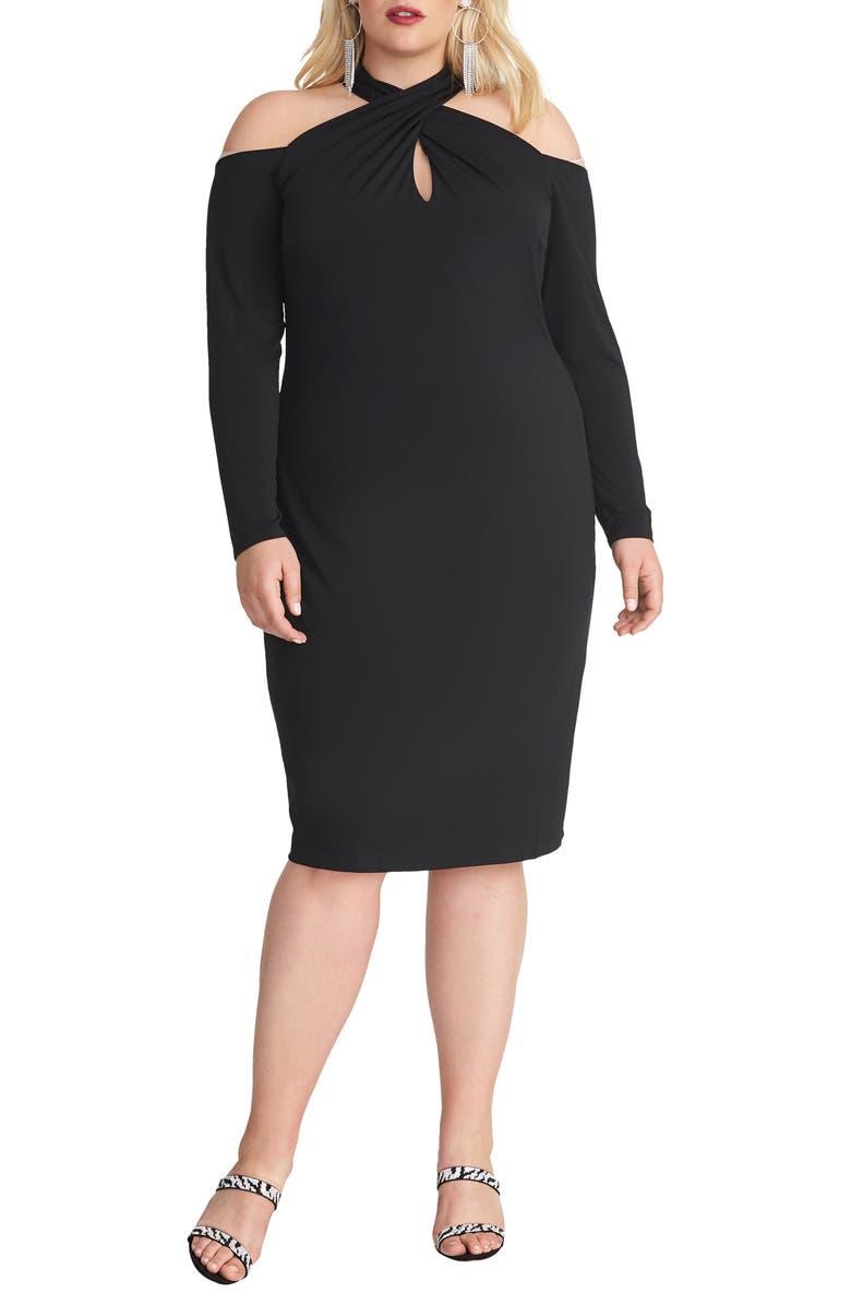 RACHEL RACHEL ROY Simone Long Sleeve Cold Shoulder Jersey Dress, Main, color, 001