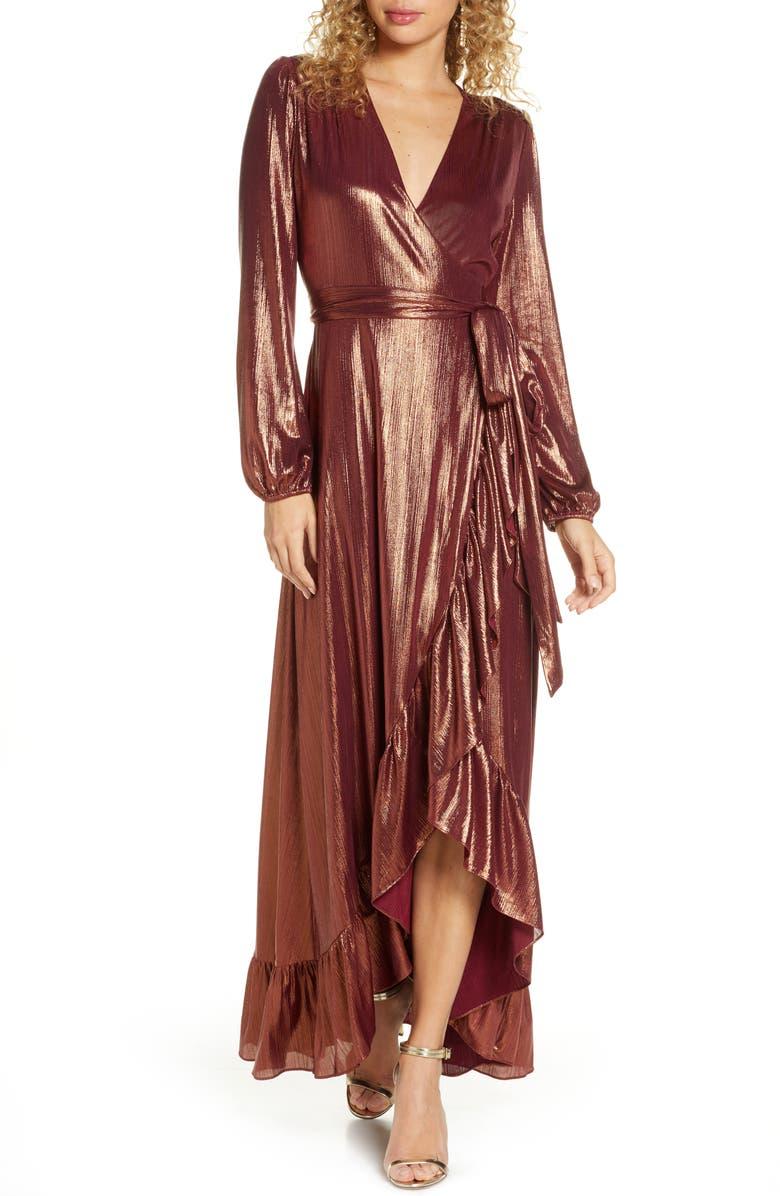 WAYF Meryl Long Sleeve Wrap Maxi Dress, Main, color, COPPER