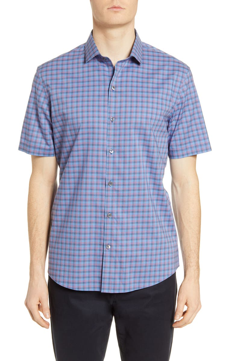 ZACHARY PRELL Swanson Classic Fit Check Short Sleeve Button-Up Shirt, Main, color, AZURE