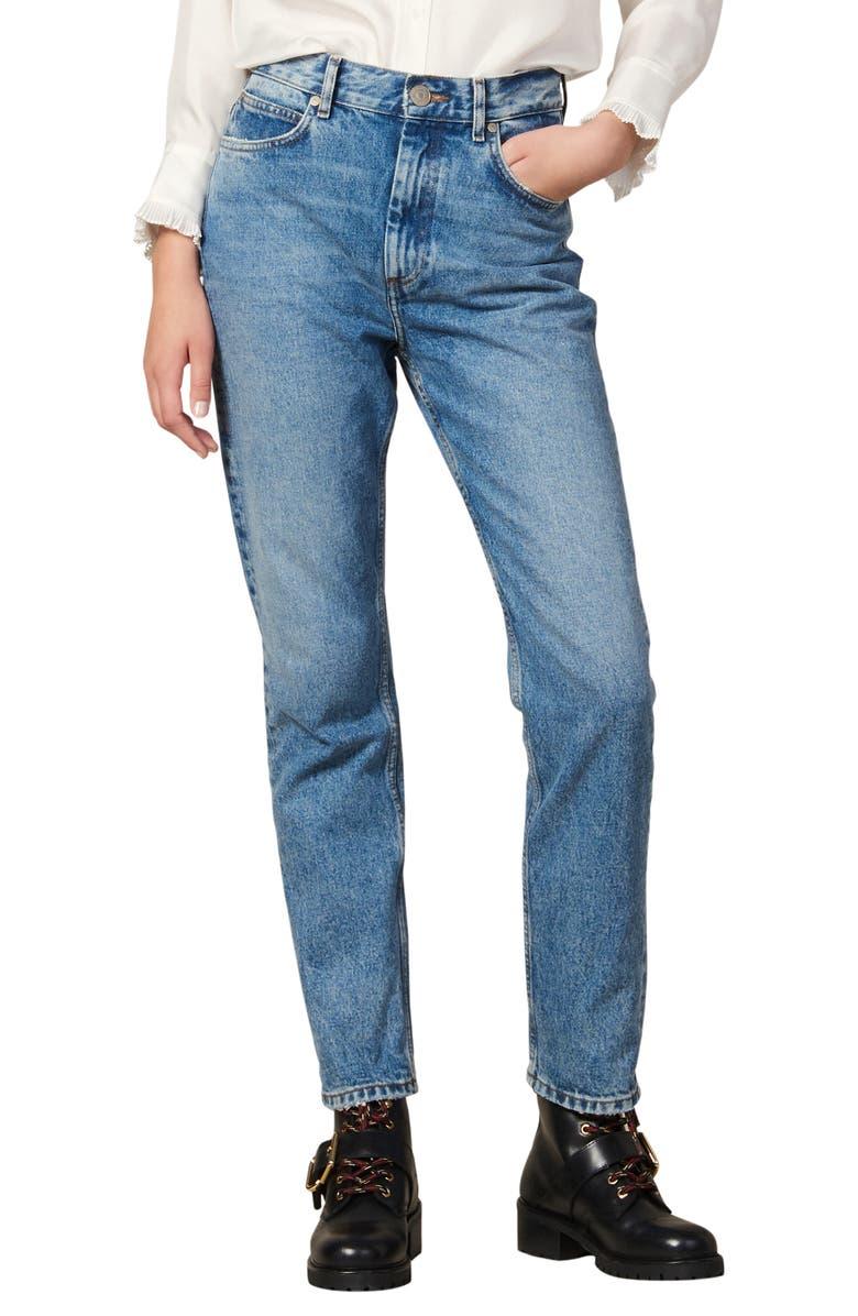 SANDRO Jen Straight Leg Nonstretch Jeans, Main, color, BLUE VINTAGE DENIM