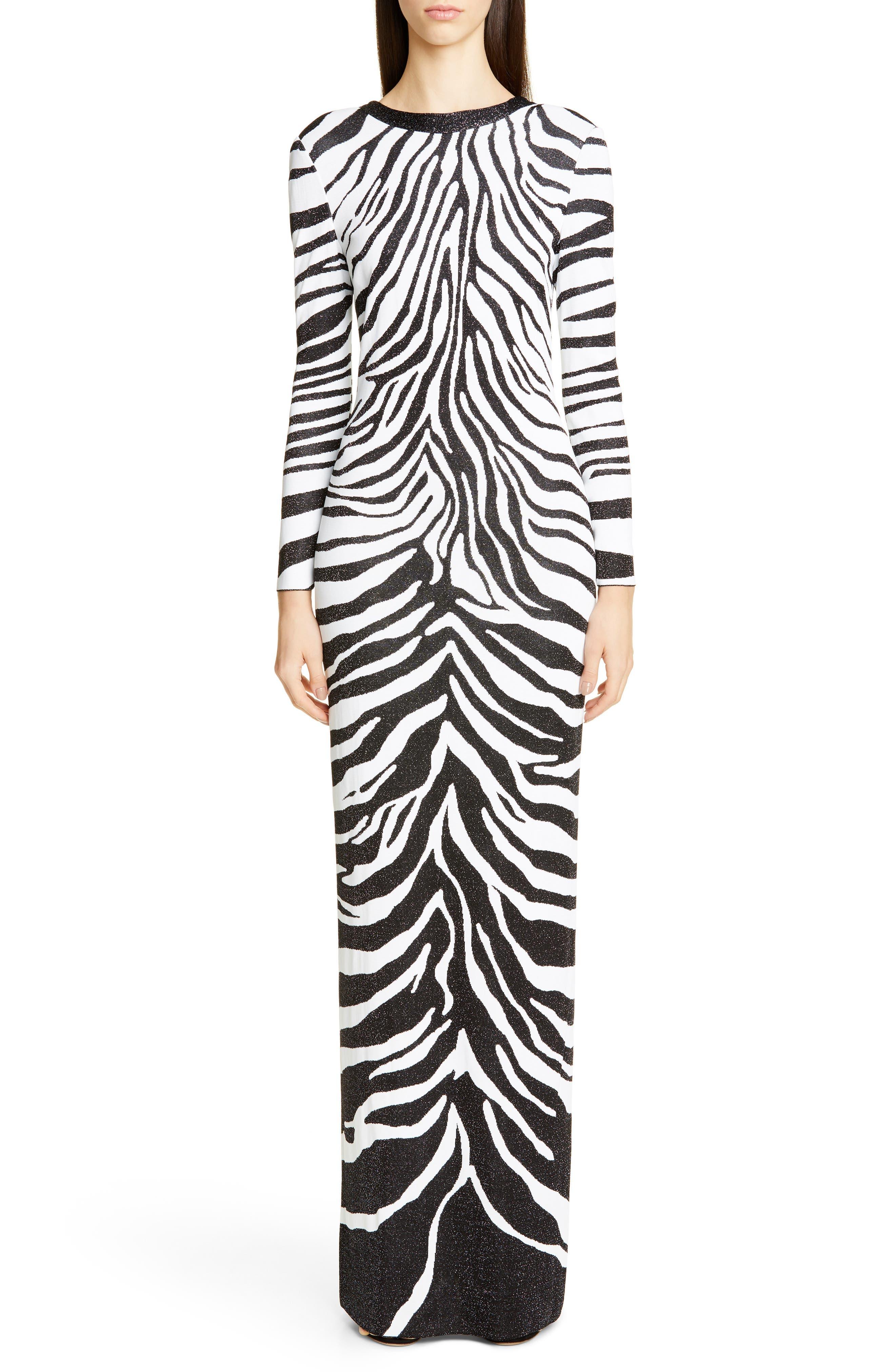 St. John Collection Zebra Jacquard Knit Bracelet Sleeve Gown, White