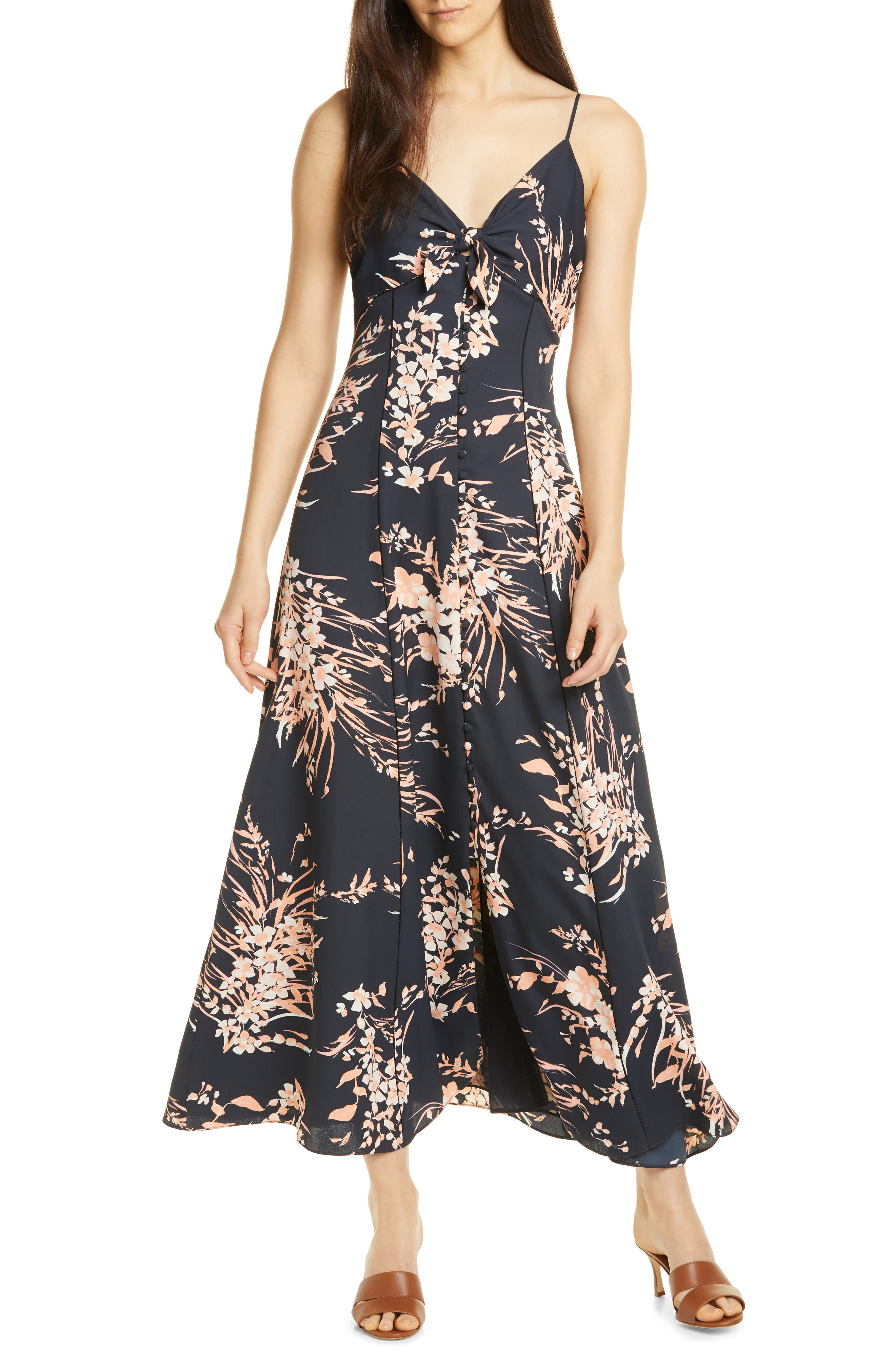 Joie Almona Floral Print Button Front Maxi Dress, Black