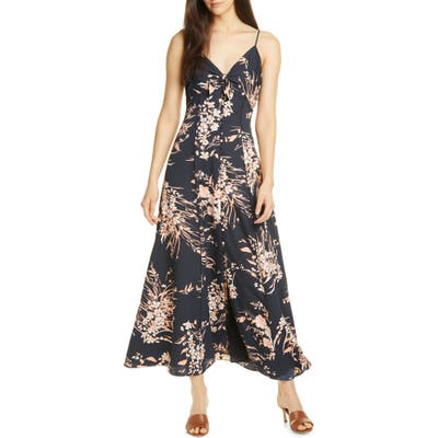 Joie Almona Floral Print Button Front Maxi Dress, Black