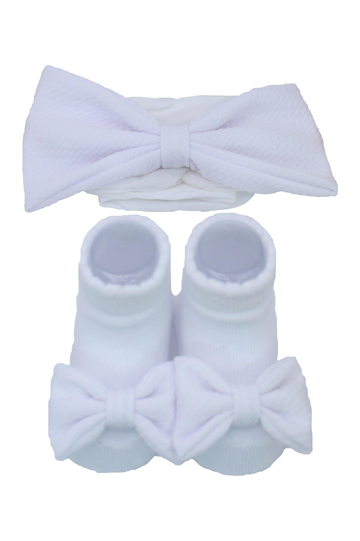 Image of Laura Ashley White Bow Heaband & Sock 2-Piece Set