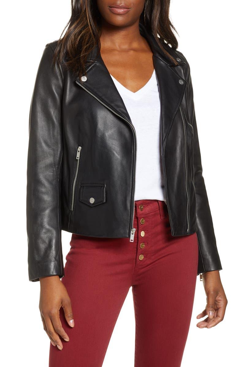 UGG<SUP>®</SUP> Alba Leather Moto Jacket, Main, color, BLACK
