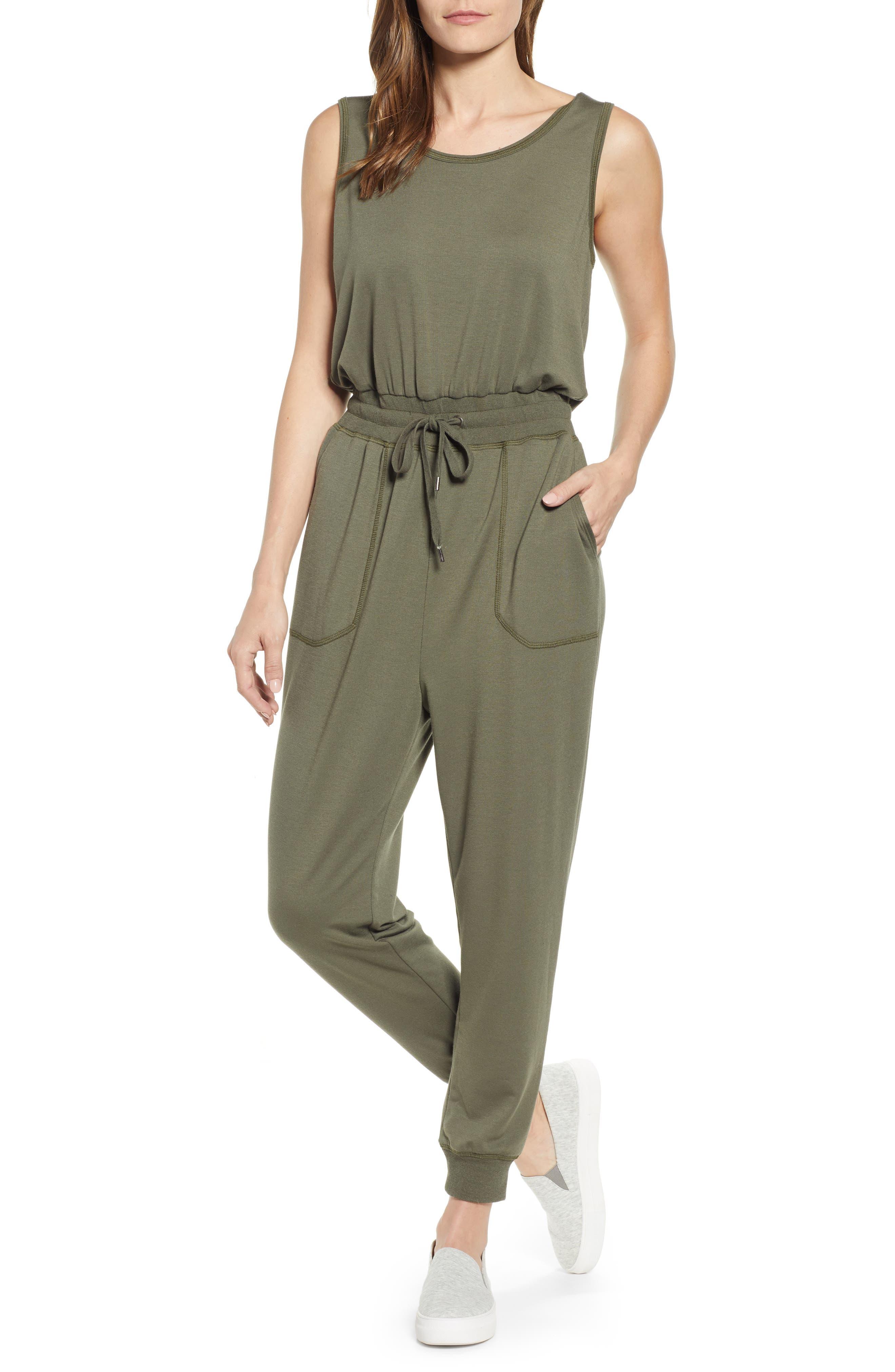 Caslon Sleeveless Jumpsuit, Green