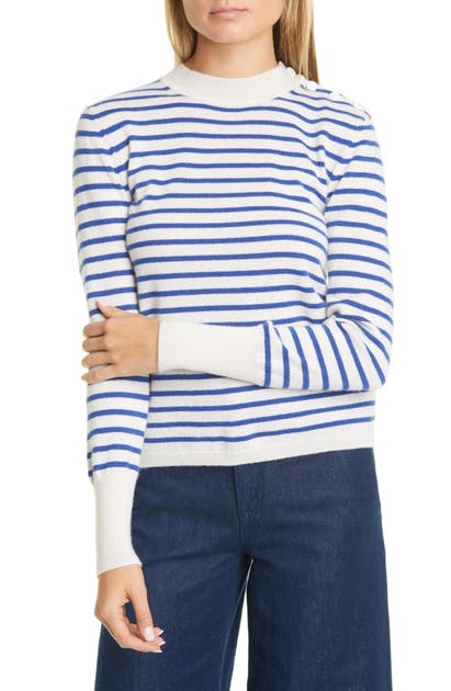 Equipment Sweaters CLODEE STRIPE SHOULDER BUTTON CASHMERE SWEATER