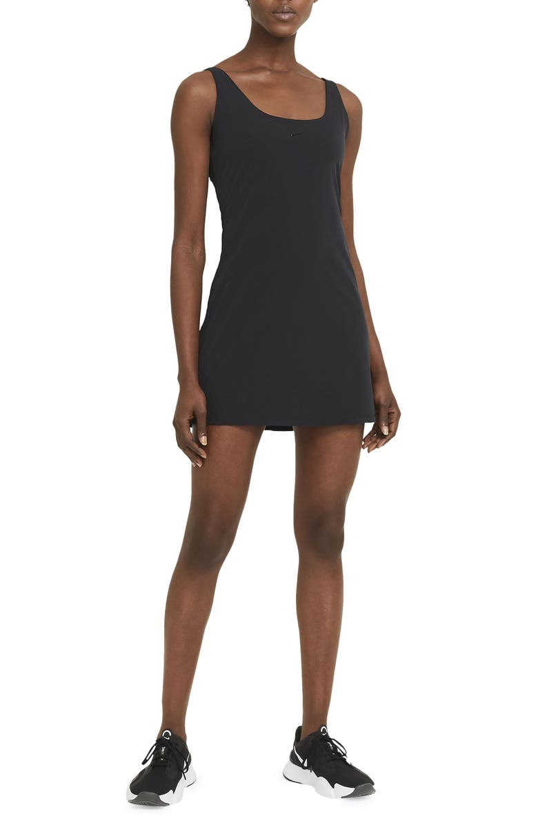 NIKE Bliss Luxe Training Dress, Main, color, BLACK/ CLEAR
