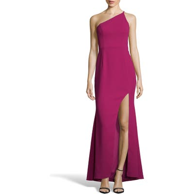 Xscape One-Shoulder Crepe Evening Dress, Pink
